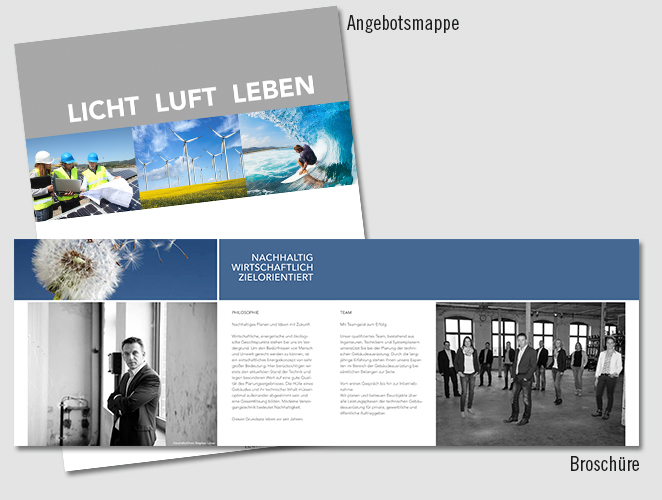 Layout, Grafikdesign, Text, Imagebroschüre, Angebotsmappe